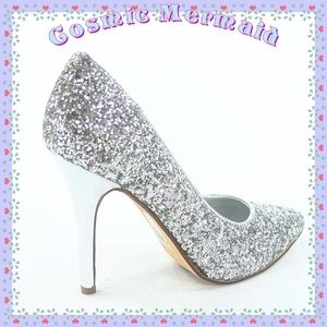 Shoes - Glam Silver Glitter🆕⭐️Stiletto Pointy Toe Pump⭐️